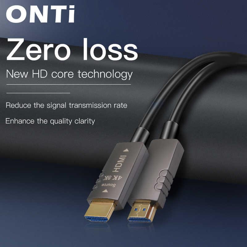 كابلات ألياف بصرية من أونتي 4K 8K HDMI 2.0 2.0b 2.1 48Gbps فائقة السرعة HDR ARC HDCP 2.2 سماعات تلفزيون فيديو فايبر أوبتيك