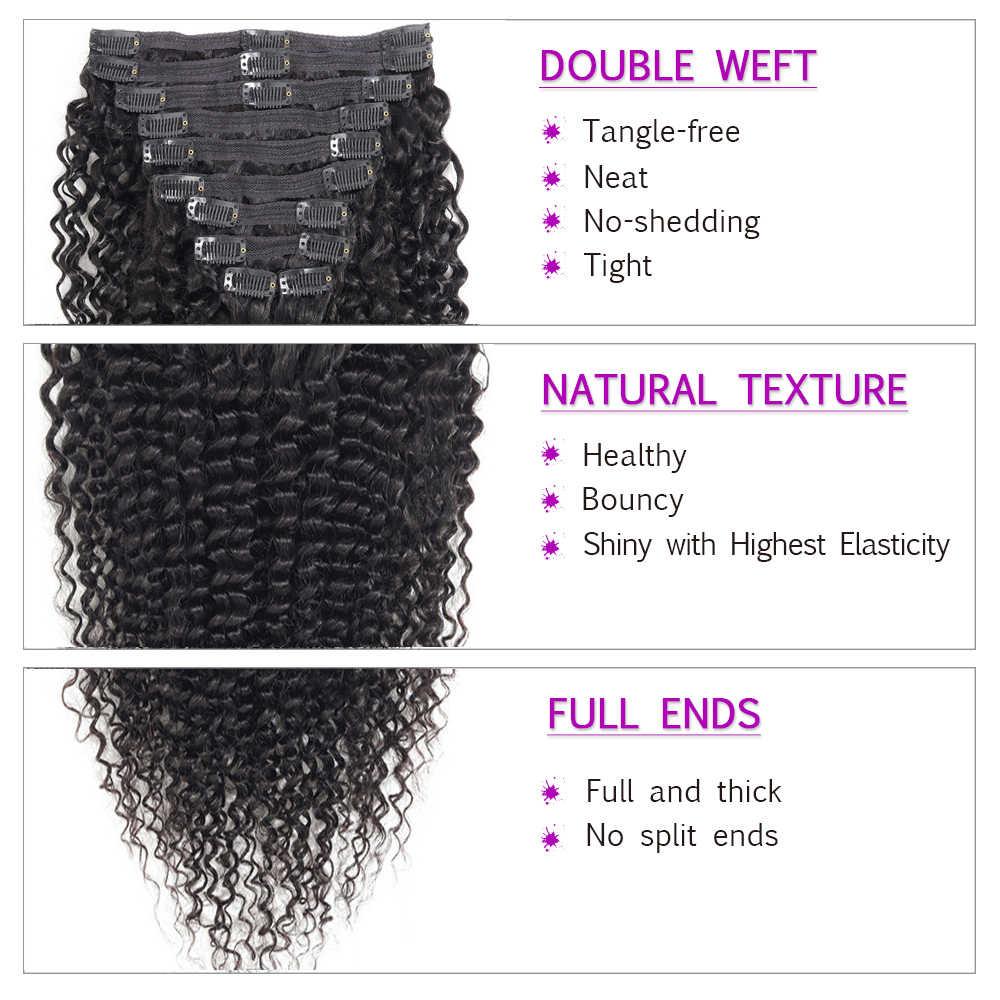 Clip rizado peruano en extensiones de cabello humano 4B 4C 10 unids/set doble trama 120 G/Set pelo no Remy Natural color negro