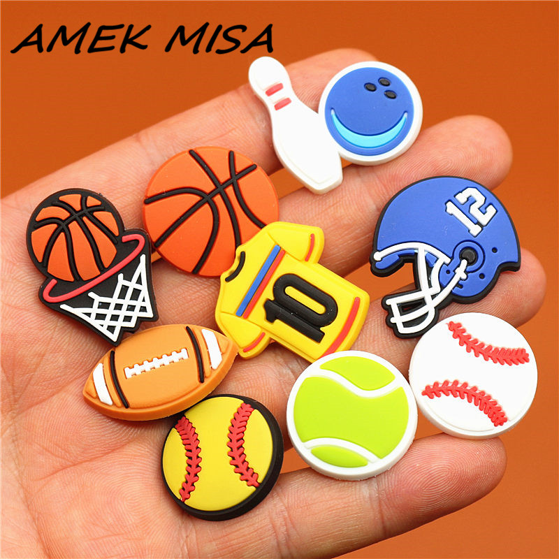 Single Sale 19 Types Of Ball PVC Shoe Charms Shoe Accessories Sandals Decoration For Croc Jibz Kids Favor Kawaii Cute X-mas Gift