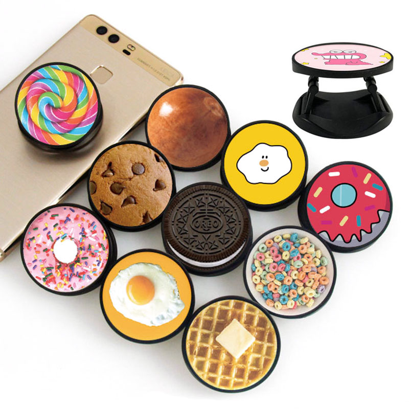 Cute Cookies Snacks ABS Lazy Foldable Phone Grip Finger Ring Phone Holder Phone Bracket For IPhone Stand Holder Phone Holders