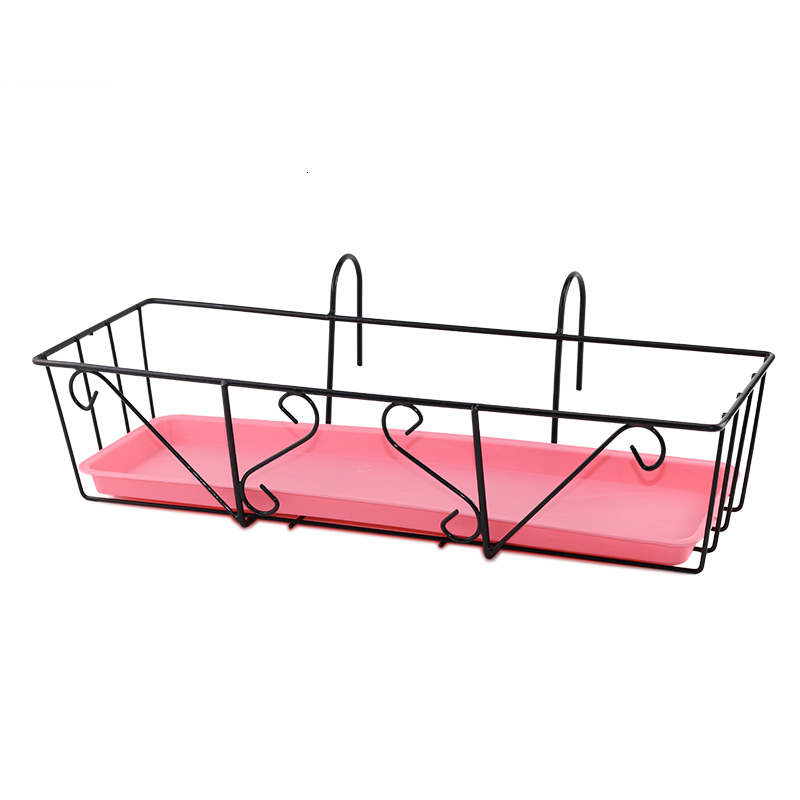 Suspension Iron Art Guardrail Flowerpot Pylons Railing Burglar Mesh Shelf Balcony Flower Rack
