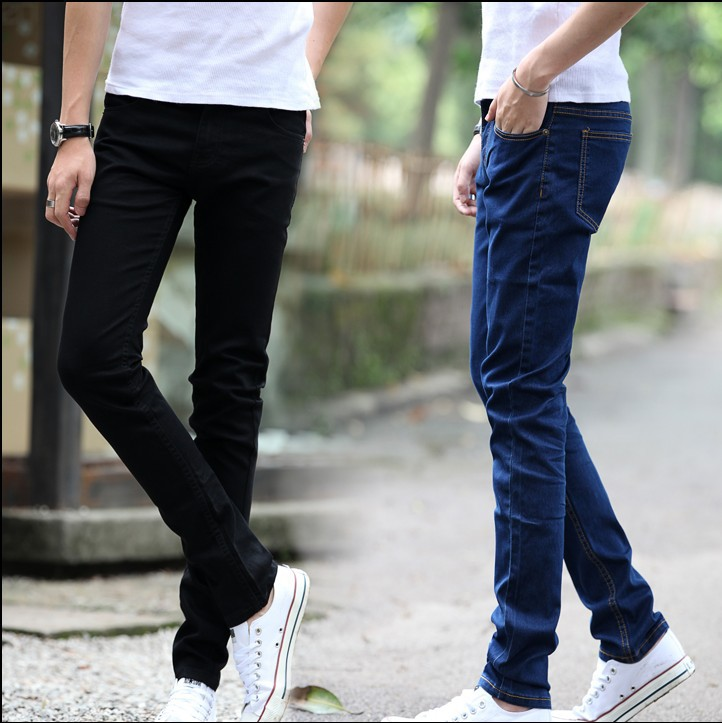 Spring And Autumn Elasticity Jeans Men Slim Fit Pants Casual Straight-Cut Pants Korean-style Trend Black And White With Pattern