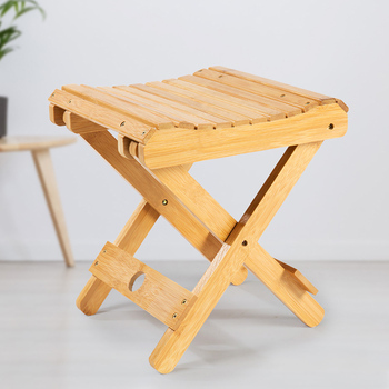 New Natural Bamboo Folding Chair Folding Stool Mini Portable Collapsible Chair Folded Seat Small Seat Skip Away Chair
