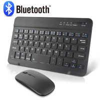 Teclado y ratón inalámbricos Mini teclado bluetooth recargable con ratón para PC, tableta, teléfono, teclado ergonómico silencioso