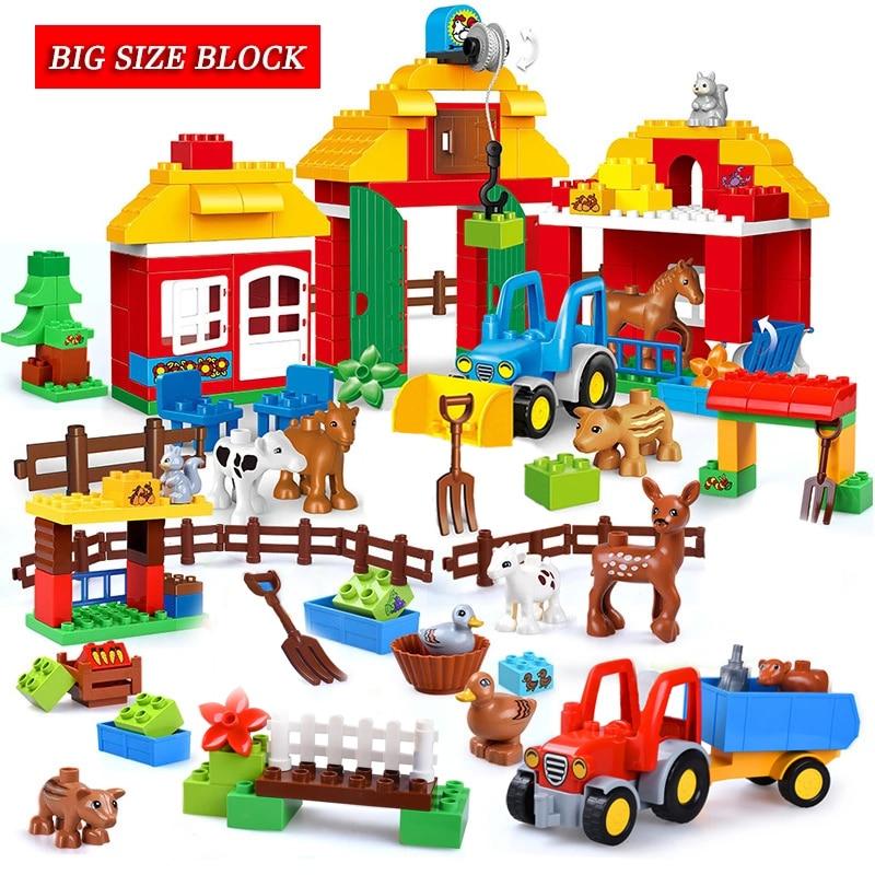 Большой Размеры игрушки большой Размеры Строительные блоки Набор игрушечных животных на ферме Соберите Кирпичи игрушки для Детский подаро...