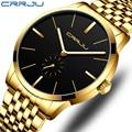 Топ люксовый бренд CRRJU мужские часы классические бизнес нержавеющая сталь мужские наручные часы модные водонепроницаемые часы Relogio Masculino