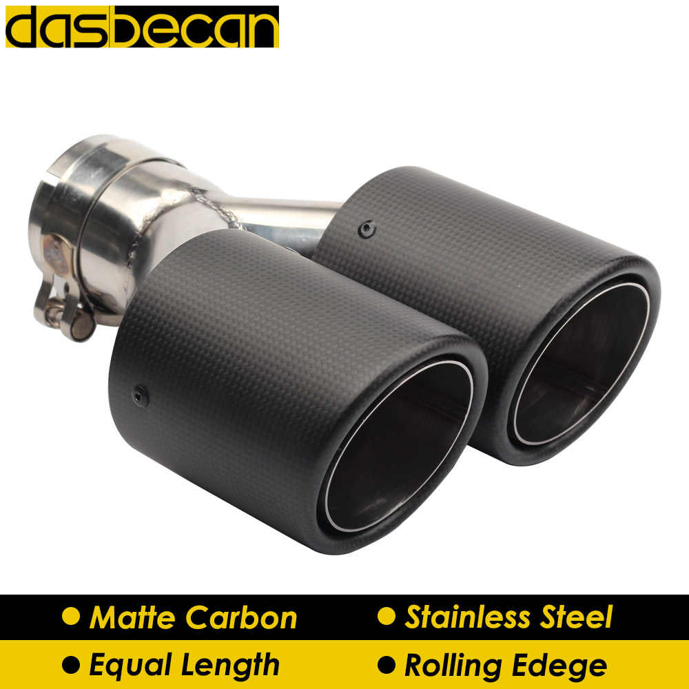 dasbecan car dual exhaust tips rolling edge y model muffler matte 3k carbon black rear exhaust pipe stainless steel universal