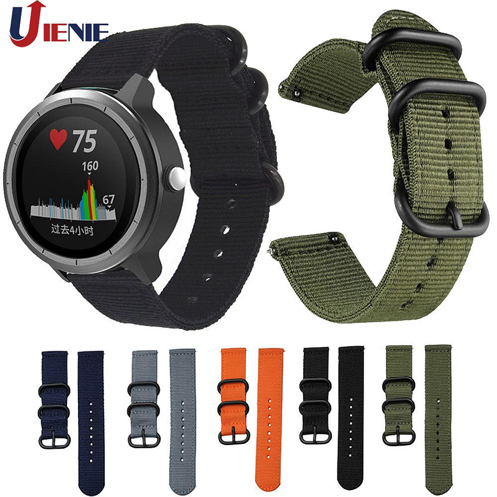 Nylon Canvas Strap For Garmin Vivoactive 3 Music/Forerunner 645 245 245M/ Vivomove HR Band Sport Replacement Wristband Correa