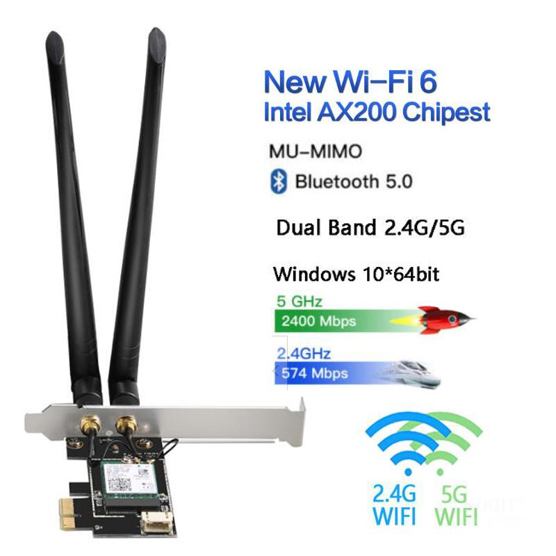 Dual Band 2.4G/5G 3000Mbps Wireless Network Card <font><b>PCIE</b></font> Wifi Adapter For Desktop PC With Intel WiFi 6 <font><b>AX200</b></font> Bluetooth 5.0 802.11ax image