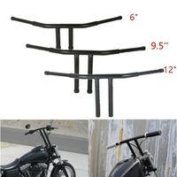 Motorcycle Black 6 9.5 12 Rise T Bars Handlebar Drag Bar For Harley FLST FXST Sportster