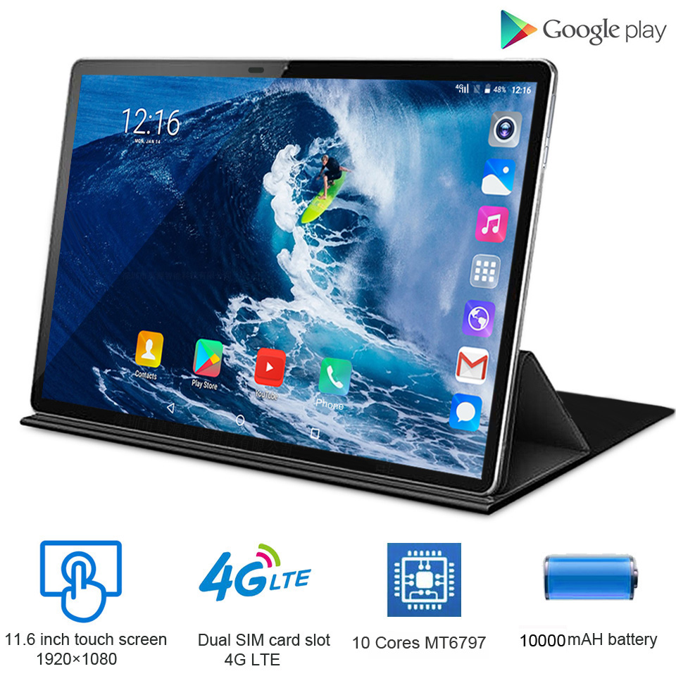 2020 -New 11.6 Inch 2 In 1 Tablet Android 4G LTE MTK6797 10 Cores Kids Tablet 256GB ROM Phone Call Tablet With Keyboard Mouse
