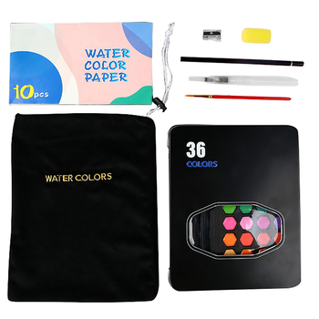 36 colors art solid pigment professional box with paintbrush portable set portable colored pencils for drawing paint watercolors 36 Colors Portable Travel Solid Paint Set Iron Case Watercolor Painting Brush Pocket Pigment Palette For Drawing Art Supplies