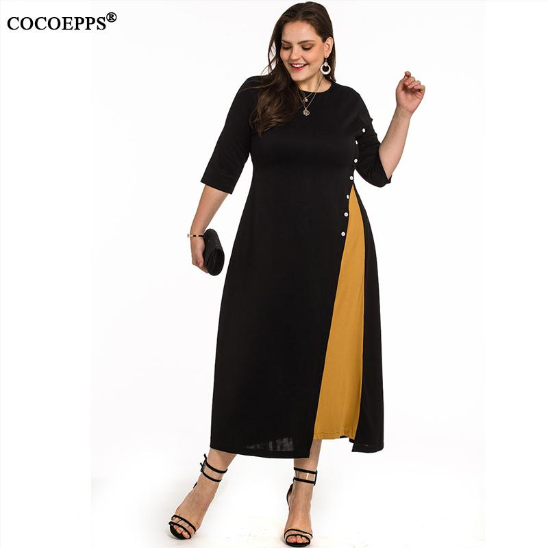 Female L-4XL Spring Plus Size Long Dress Patchwork Winter Black Evening Party Dress Big Large Size Women Maxi Office Work Dress