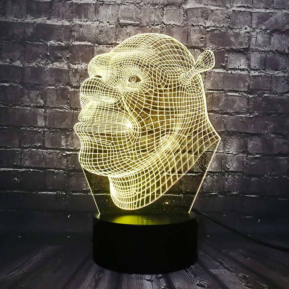 3D Shrek Action Figure LED Lamp 7 Color  Change Optical Illusion Boy Toy Gun Decorative Kid Desk Sleep Lamp Children Day Gift