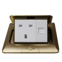 цена на KEKA All copper Gold Panel slow Pop Up Table Floor Socket 16A British Standard Power Outlet With computer network rj45 socket