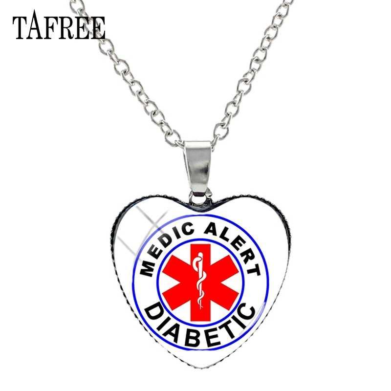 TAFREE 糖尿病医療アラートハートネックレスリボン自閉症治療法は無条件ガラスジュエリーの女性のハートネックレス MA67