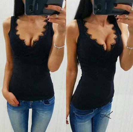 Casual Women Vest Top Lace Splice Sleeveless V-neck T-shirt Low-cut Lace Tank Tops Elegant Solid White Black Summer T Shirt Hot