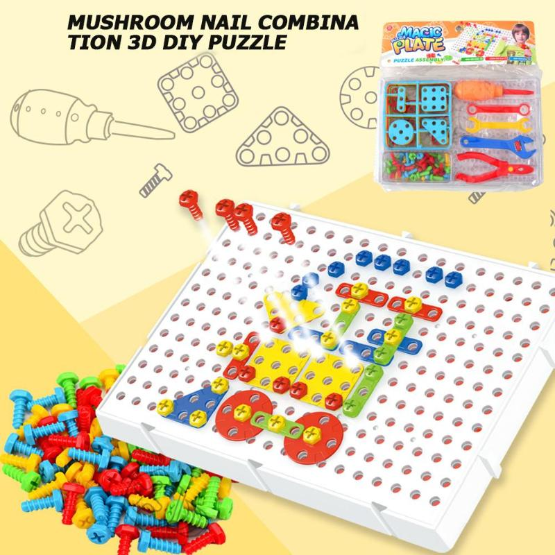 78 Pcs /Set Box-packed Mushrooms Nails Jigsaw Puzzle Game Screw Drill Puzzle Enlightenment Child Board Educational Toy