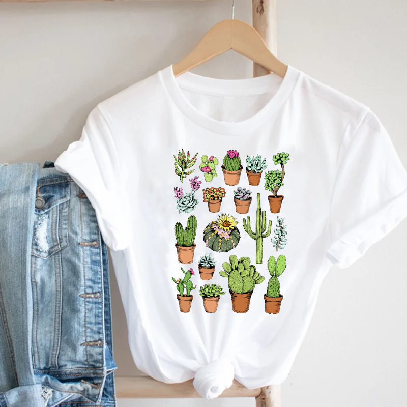 Women Printing Cactus Plant Trend Casual Summer Spring 90s Style Fashion Clothes Print Tee Top Tshirt Female Graphic T-shirt 4
