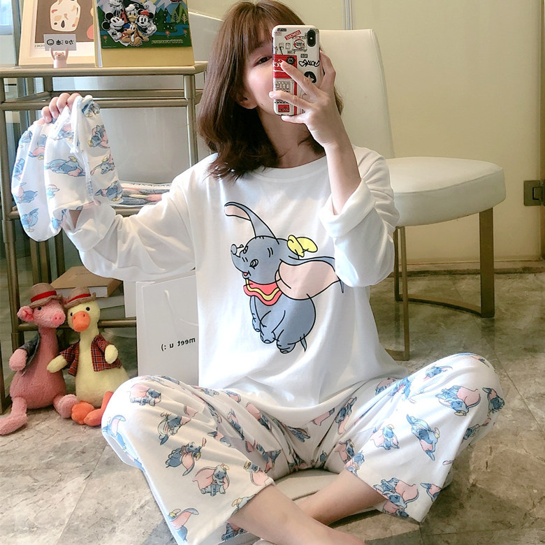 Spring And Autumn Pajamas Women Long Sleeve Cloth Bag White Baby Elephant Set M -Xxl, Selfie