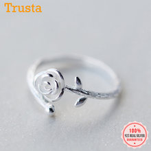 Trusta 100% 925 sólido Joyería de plata de ley auténtica flor Rosa anillo ajustable con apertura tamaño 5 5 5 6 6 7 para Chica adolescente mujeres DS991