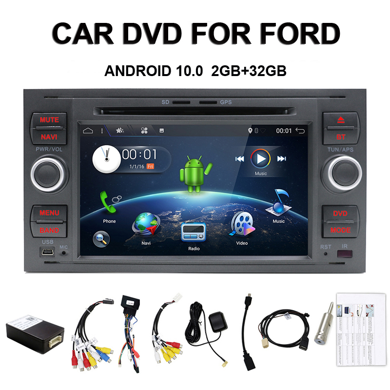Android 10 Quad core Two Din 7 Inch Car DVD Player For <font><b>Ford</b></font>/Mondeo/Focus/<font><b>Transit</b></font>/C-MAX/S-MAX/Fiesta RAM 2G <font><b>GPS</b></font> Navigation Radio image