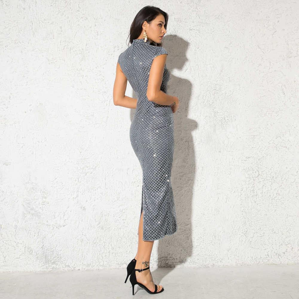 элегантное Glitteкрасный Платье средней длины плед Блестящее платье красный Щелевая  обратная сторана свитер платье для вечеринки