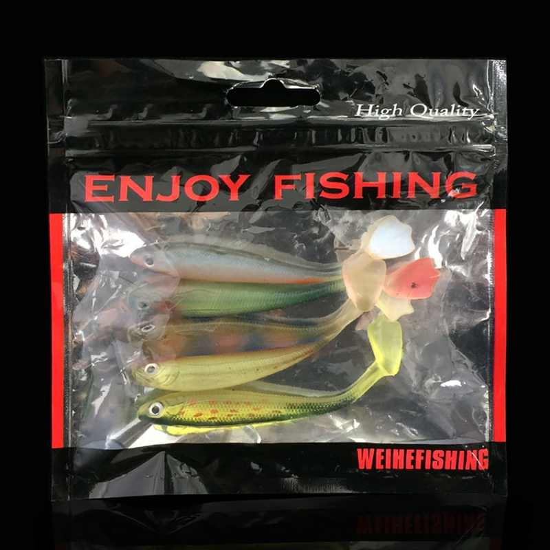 5 unids/lote suave Wobblers señuelo de pesca de silicona doble natación isca carpa Artificial accesorios de pesca con cebo