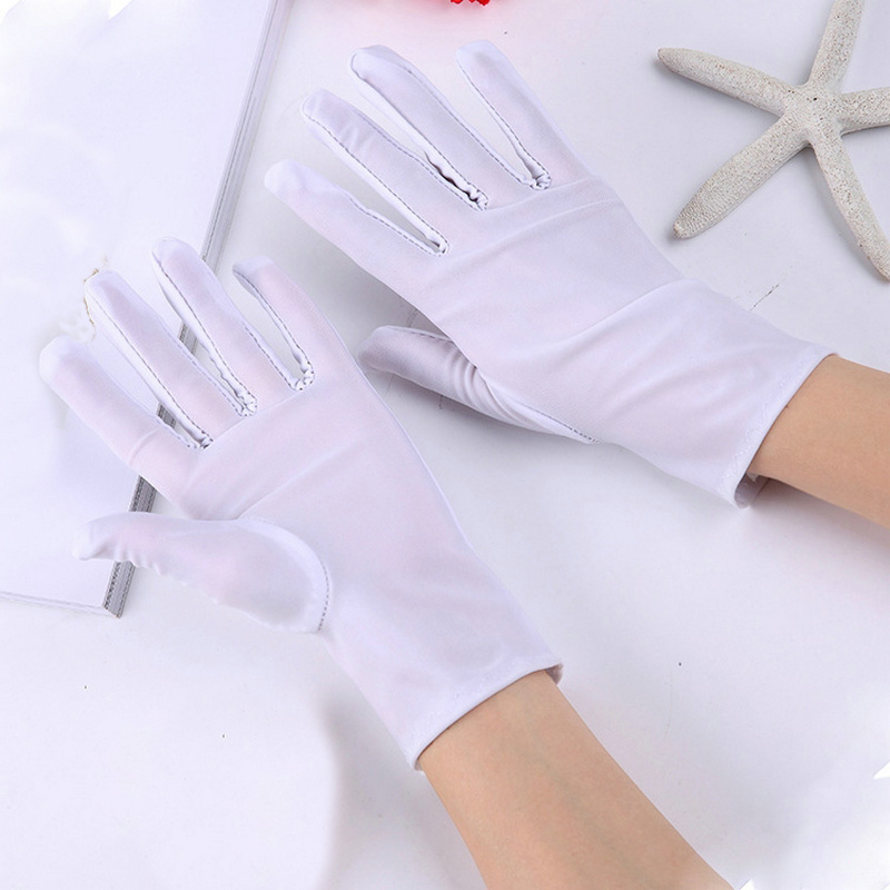 1 Pair Unisex Spandex Gloves Black White Etiquette Thin Stretch Gloves Dance Tight White Jewelry Gloves Etiquette Dance Gloves