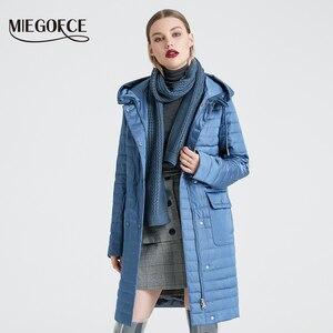 Image 2 - MIEGOFCE 2020 nowa kolekcja damska kurtka wiosenna stylowy płaszcz z kapturem i naszywki podwójna ochrona przed wiatrem