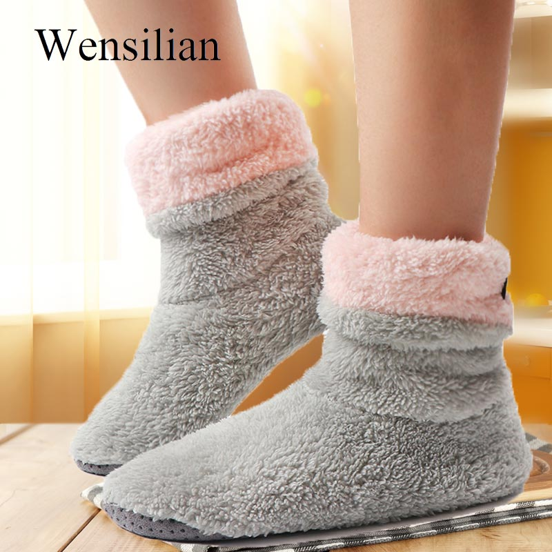 Winter Home Slippers Women Fur Slides Sock Shoes Fluffy Slippers Coral Fleece Indoor Floor Shoes Warm Chaussures Femme