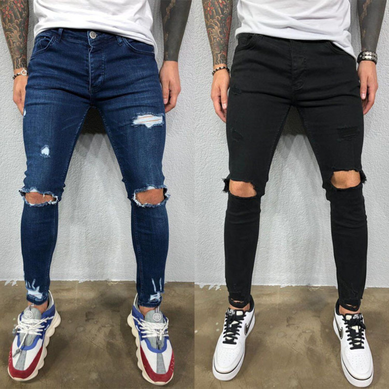 Mens Jeans Black Blue Cool Skinny Ripped Stretch Slim Elastic Denim Pants Large Size For Male Spring Summer Autumn Hip Hop(China)