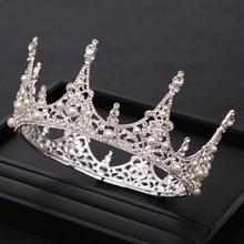 New Wedding Crystal Pearl Crown Silver Color Bride Hair ornaments Headband Round Bridal Accessories