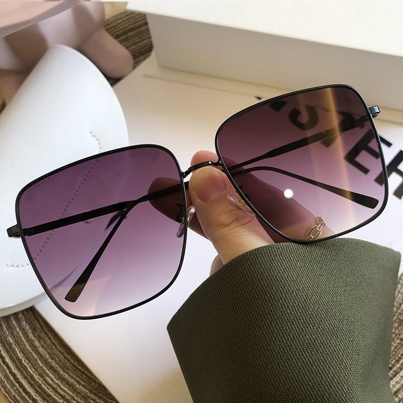 Chic Avocado Green Alloy Square Sunglasses For Women New Fashion Brand Oversized Gradient Sun Glasses Men Metal Retro Big Shades