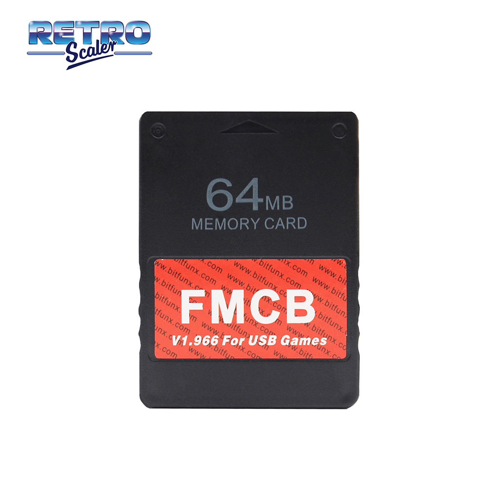 RetroScaler New Upgrade 8/16/32/64MB v1.966 Free McBoot Memory Card Support Playing PS1/PS2 Games by USB for PS2 Console