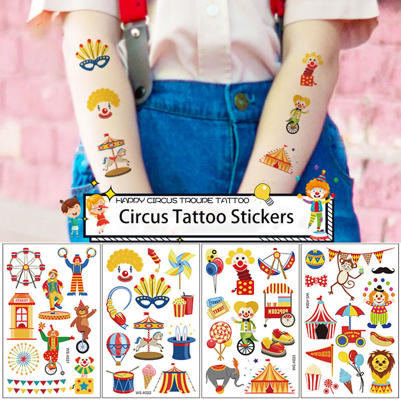 Temporary Tattoos Sticker For Kids Boys Birthday Party Waterproof  Circus Clown Party Supplies Children Party Favors