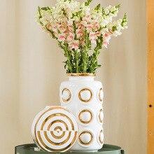 Маленькая свежая легкая Роскошная золотая боковая ваза Современный минималистичный сушеный цветок композиция цветок гостиная керамическая ваза Декорация