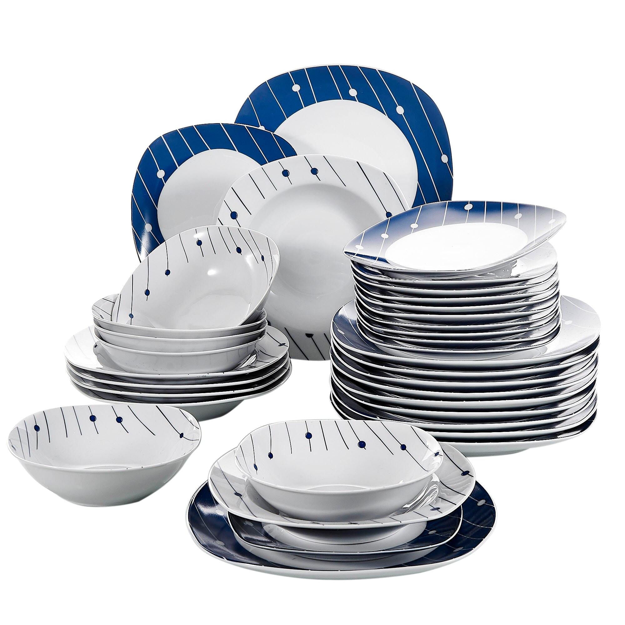VEWEET DOT002 48-Piece Dinner Set China Ceramic Dinnerware Plate Tableware Set with Bowl,Dessert Plate,Soup Plate,Dinner Plate