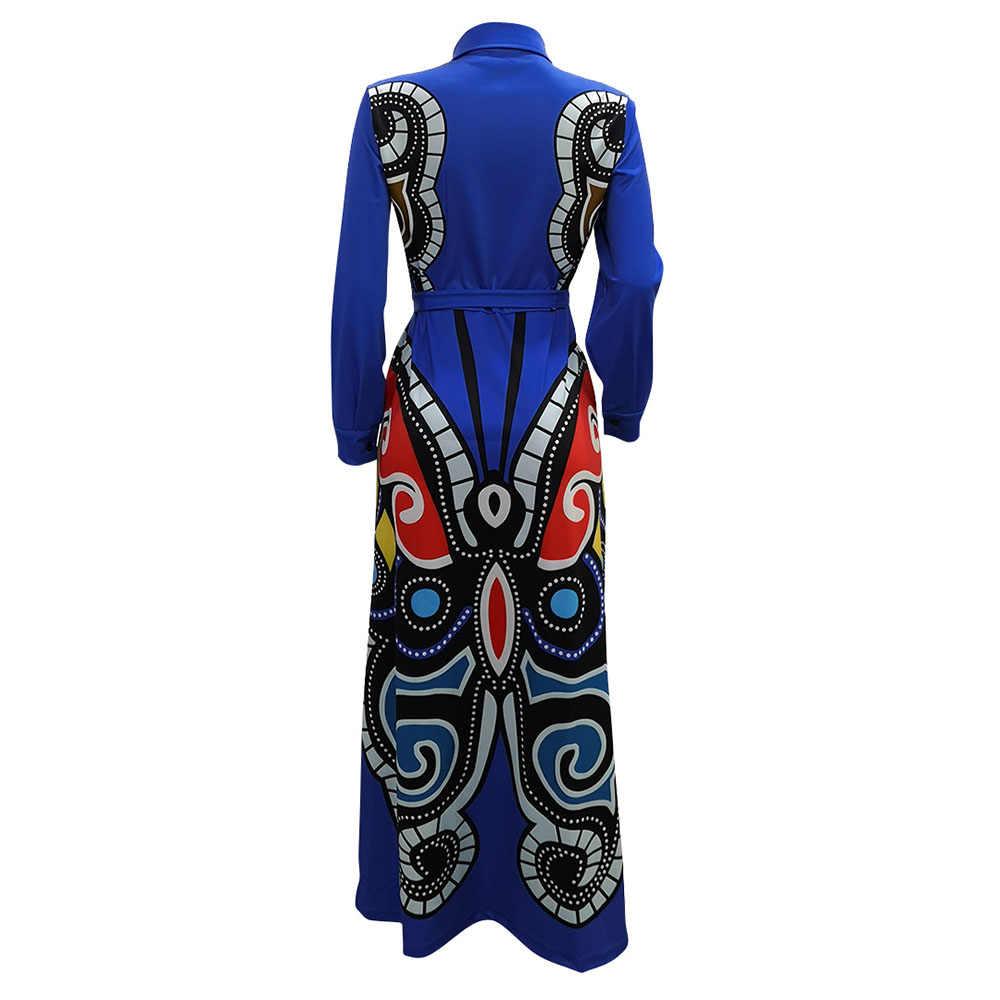 נשים סתיו החורף מזדמן ארוך שרוול שמלת מקסי אלגנטי בתוספת גודל תבנית חגורה מודפס משרד גבירותיי חולצה שמלת נקבה 3XL