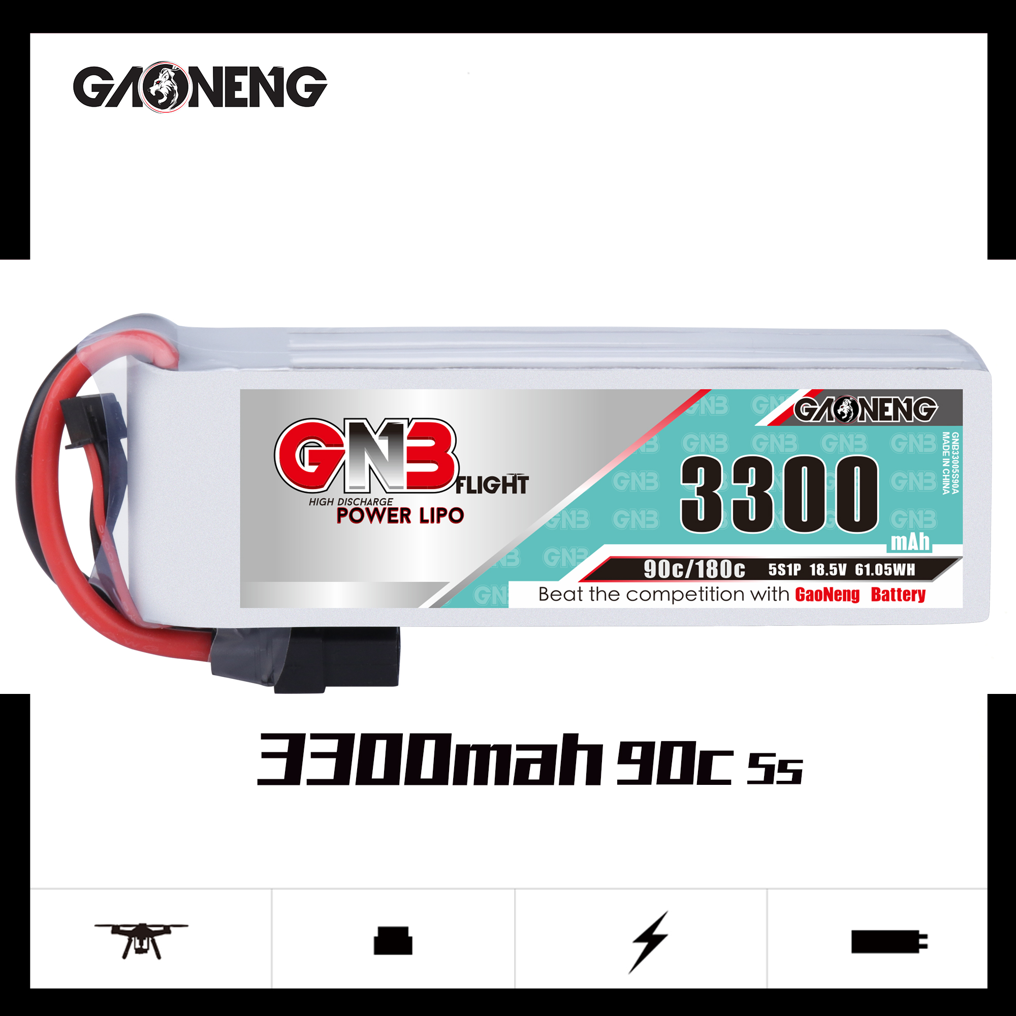 Gaoneng GNB 3300mAh 5S 90C 14,8 V Lipo батарея XT60 XT90 T Plug Fixed Wing Модель автомобиля Корабль Высокая производительность литиевая батарея