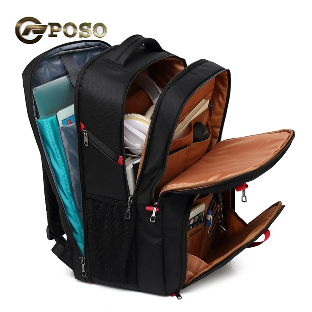 POSO Backpack 17.3 Inch USB Laptop Backpack Nylon Waterproof Backpack Anti Theft Travel Bag Multi function Stundet Backpack-in Backpacks from Luggage & Bags