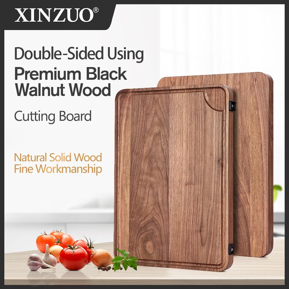 XINZUO High Quality Blocks Black Walnut Chopping Blocks Double-side Using Kitchen Bread Fruit Cutting Board Durable Kitchen Tool