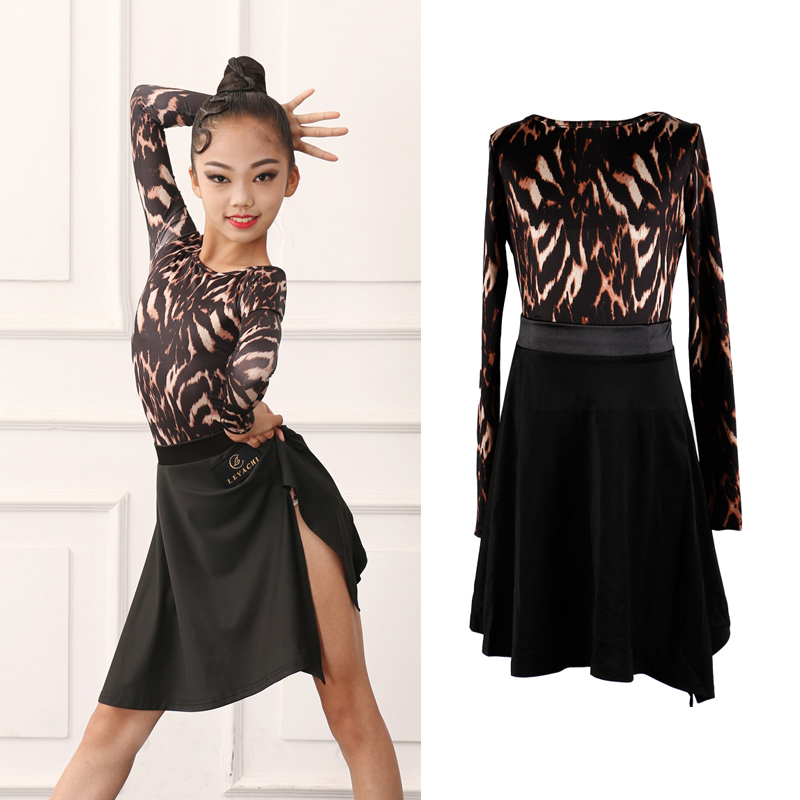 2020 Latin Dance Dress Children'S Girls Practice Clothes Performance Clothing Latin Dance Top Skirt Competition Costume DQS3312