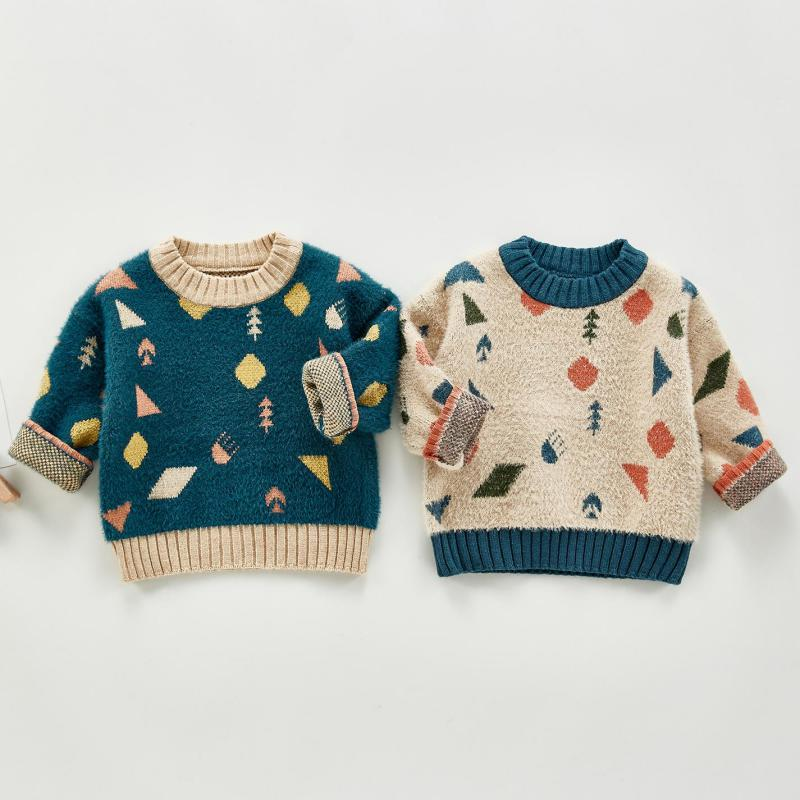 Baby Girls Boys Sweater Autumn Kids Knitwear Boys Pullover Sweater Cute Print Girls Knitted Sweater Children's Clothing