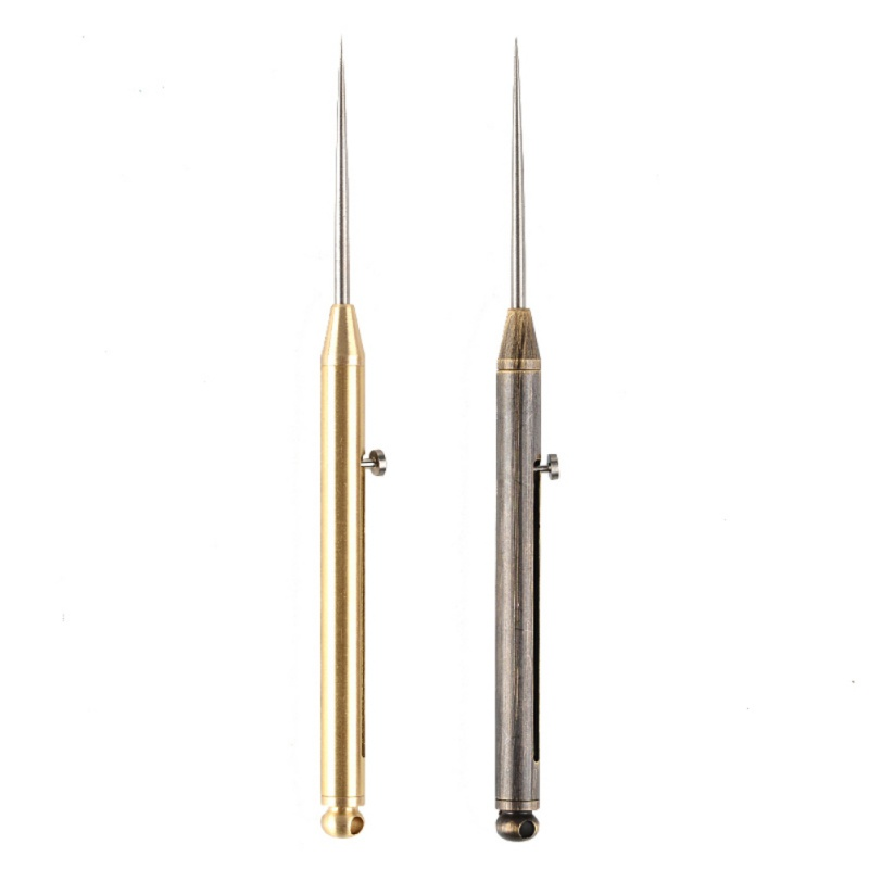 Brass Titanium Alloy Push-pull Spring Design Toothpick With Protective Case Holder Ultra-Light Multi-function Portable Fork