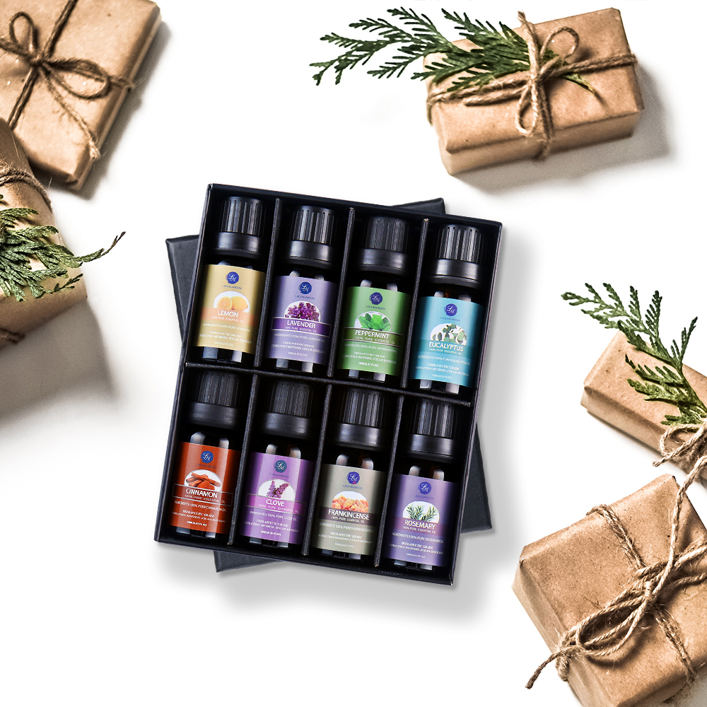 Lagunamoon 10ML 8PCS Gift Set Pure Essential Oils Diffuser Humidifier Massage Aroma Lavender Tea Tree Eucalyptus Lemongrass Oil