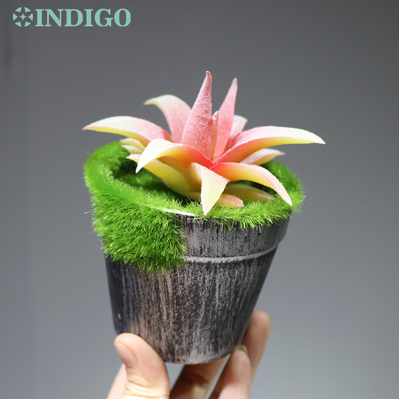 INDIGO Artificial Succulent Plant With Vase Plastic Flower Bonsai Green Plant Table Decoration Greenery Free Shipping in Artificial Dried Flowers from Home Garden