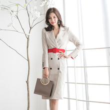 Elegant women dress Office Ladies blazer dresses Long Sleeve Slim Wear