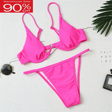 2020 Summer Sexy Bikini Swimwear Women Micro Neon Thong Biquini Brazilian Solid Hooked Wired Two Pieces Swimsuit Bathing Suits(China)
