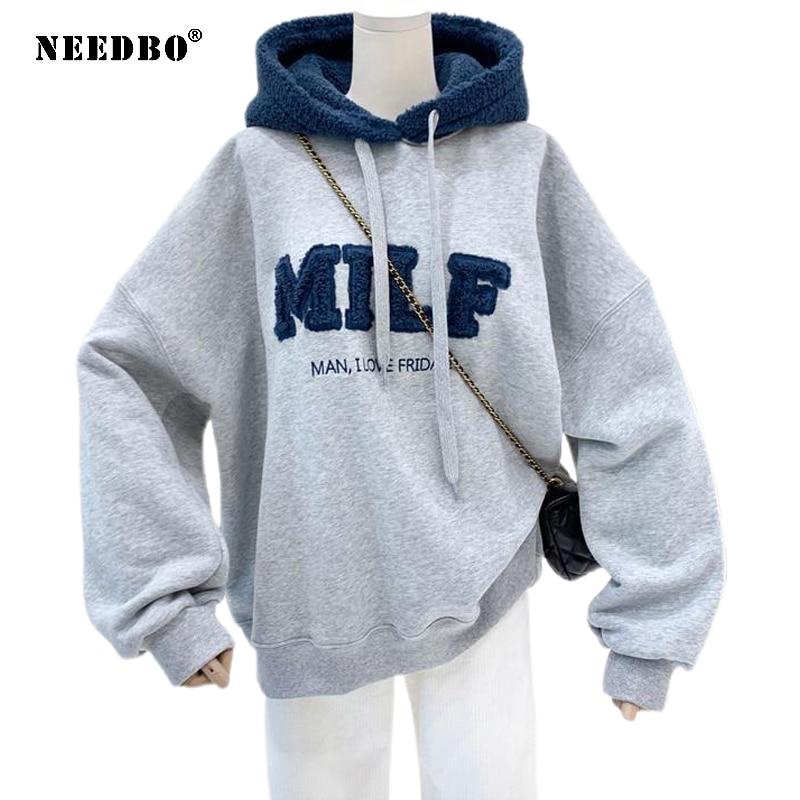 NEEDBO MILF Hoodies Women's Sweatshirts Letter Print Lamb Wool Pullovers Loose Korean Style Jacket Full Sleeve Casual Tops 2021